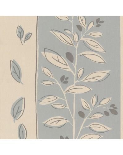 Papel de Parede Floral Cinza e Bege  9100